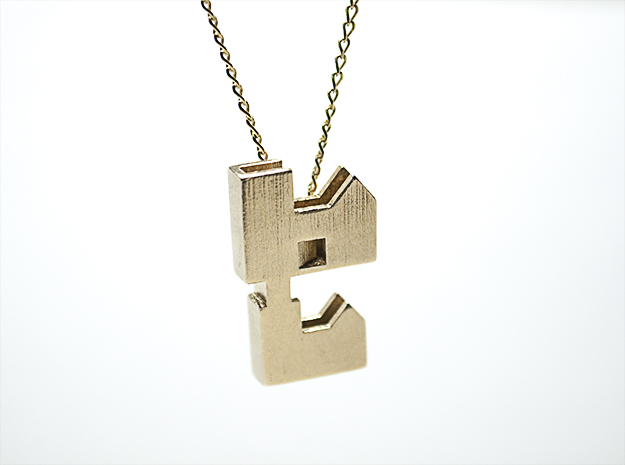 """Forever Home"" Necklace in Natural Brass"
