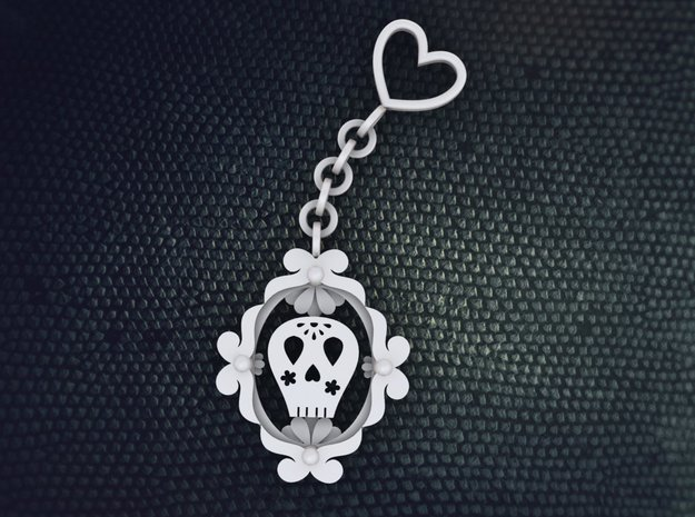 Sugar Skull Keychain in White Strong & Flexible Polished