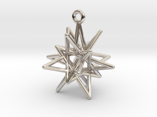 Stellar Drop Pendant in Rhodium Plated Brass