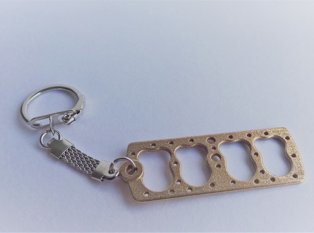 V8 FLATHEAD ENGINE Head Gasket KEY CHAIN 221/239/1 in Polished Bronzed Silver Steel