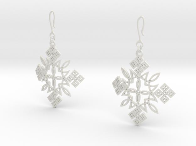 Habesha Cross Earrings 70 Degree Bended in White Natural Versatile Plastic