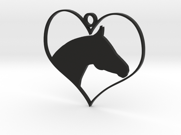 Horse Heart in Black Natural Versatile Plastic
