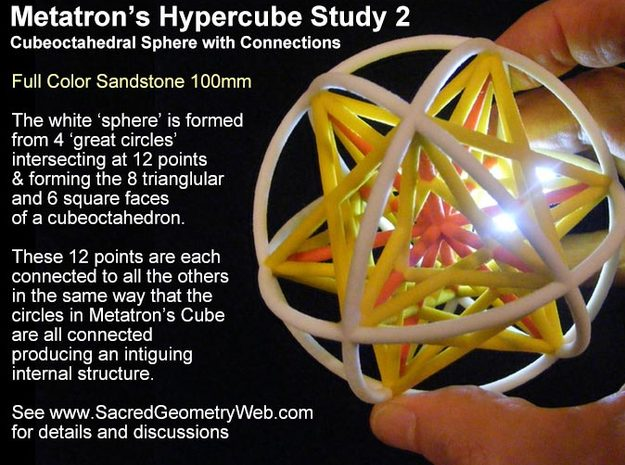 Metatrons Cubeoctahedral Sphere Connections 80mm in Full Color Sandstone