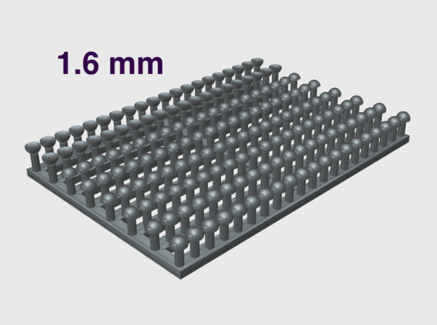 1.6 mm Rivet Heads -Variety Pack in Smooth Fine Detail Plastic