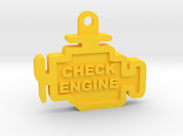 Check Engine Light Keychain (with text) in Yellow Processed Versatile Plastic