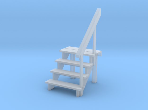 HO Scale 4 step stair & railing in Smoothest Fine Detail Plastic