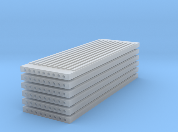 'N Scale' - (6) Precast Panel - Ribbed - 30'x10'x1 in Smooth Fine Detail Plastic
