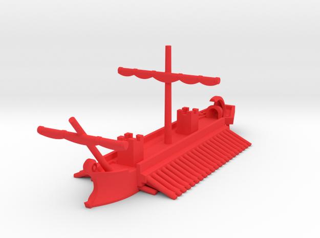 1/1200 Roman Tower Quinquereme Game Pieces in Red Processed Versatile Plastic: Extra Small