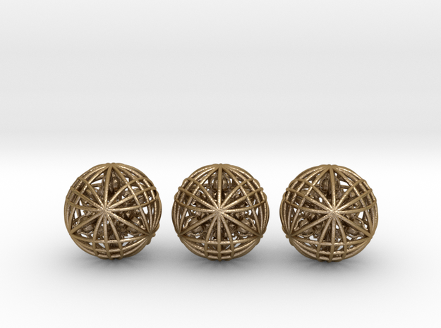 "Three Awesomeness Juggling Balls (3x2.5"") in Polished Gold Steel"