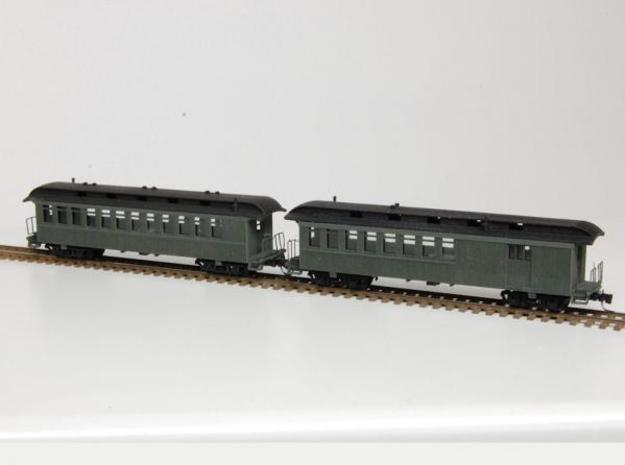 Combine & Passenger Car Nn3 in Smooth Fine Detail Plastic