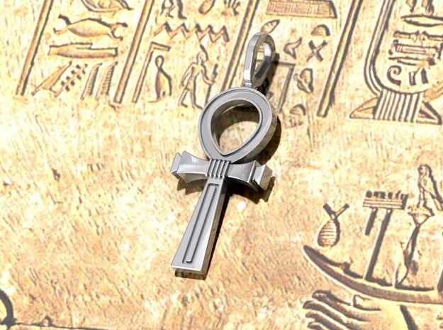 Ankh Cross Pendant in Polished Silver