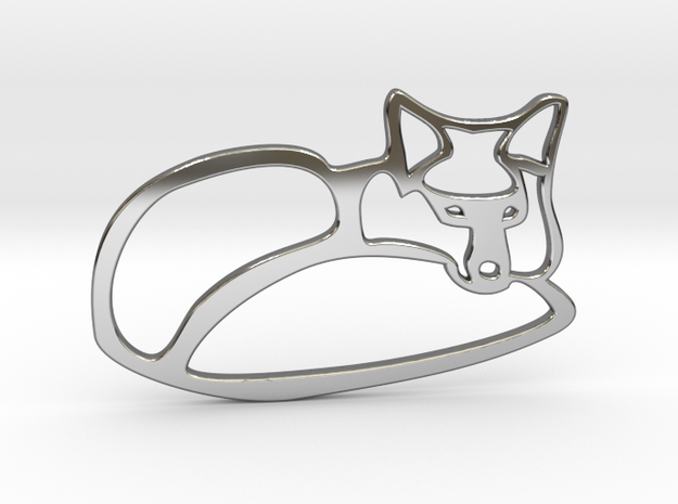 fox in Fine Detail Polished Silver