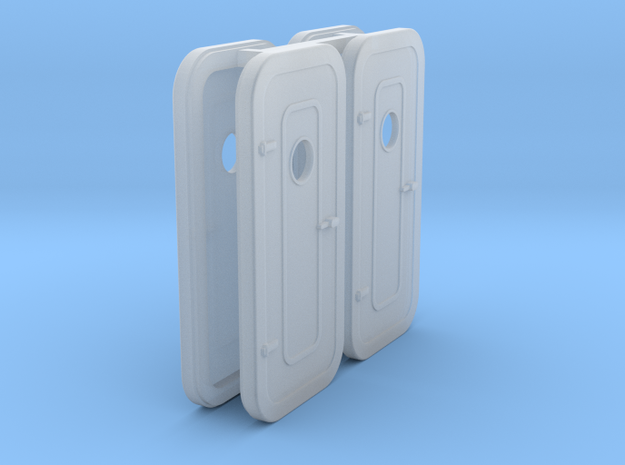 1:87  LH-Watertight Door - w porthole - 4 ea in Smoothest Fine Detail Plastic