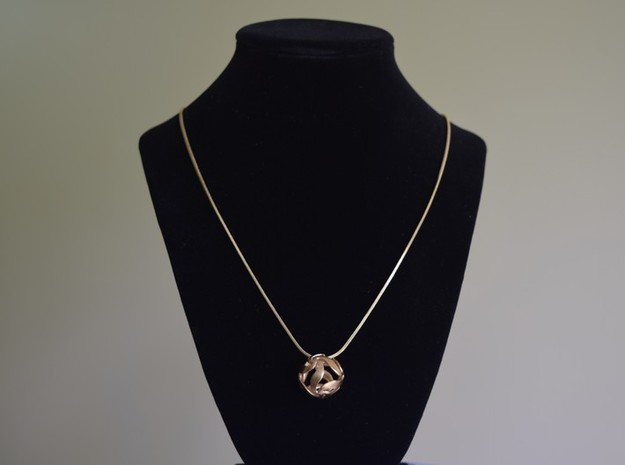Crystal ball pendant necklace in Natural Brass