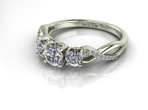 Fine 3 stone crossover NO STONES SUPPLIED in Fine Detail Polished Silver