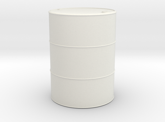 1/16 scale 55 Gallon Oil Barrel in White Natural Versatile Plastic