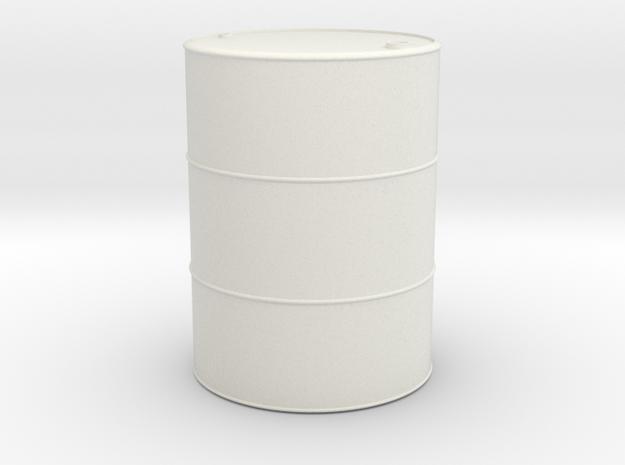 1/16 scale 55 Gallon Oil Barrel in White Natural Versatile Plastic