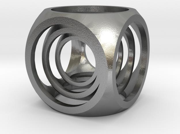 Captive Cubes Pendant in Natural Silver (Interlocking Parts)
