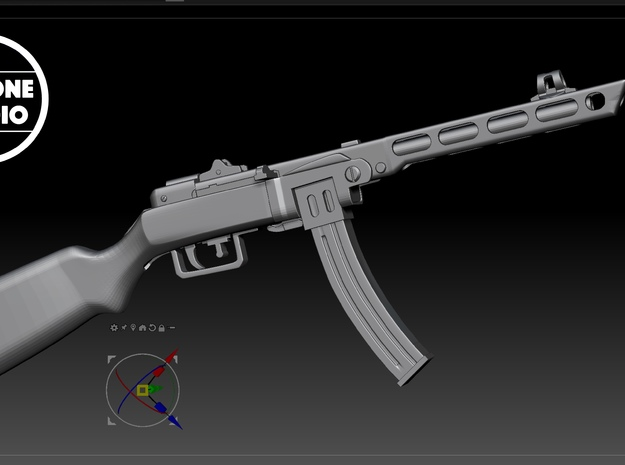 PPSh-41 (1/9 scale) in Smoothest Fine Detail Plastic