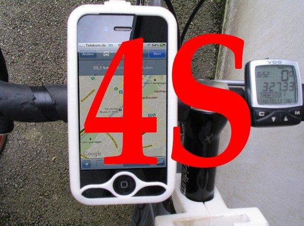 """iPhone 4S bike mount assembly 1 1/4"""" in White Natural Versatile Plastic"""