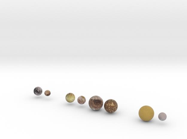 Major Moons & Pluto, 0:7 billion in Full Color Sandstone