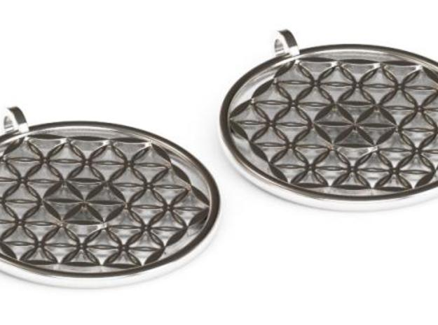 Silver Flower of Life Earrings in Polished Silver