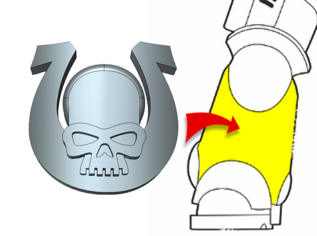 20x Ultra Skull - Small Bent Insignia Set in Smooth Fine Detail Plastic