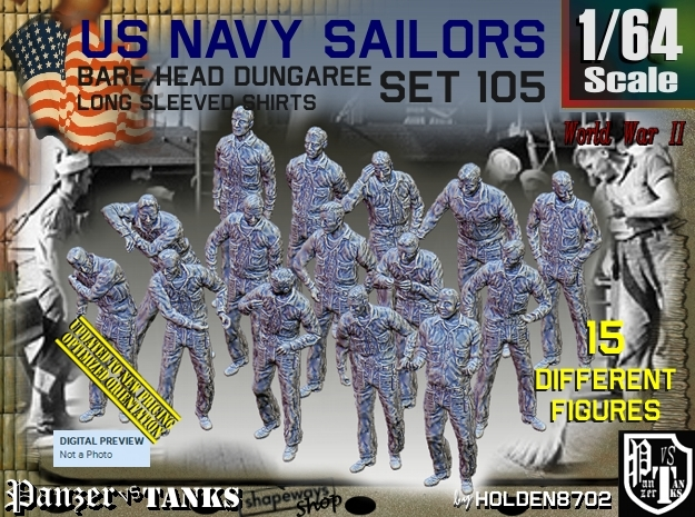 1/64 USN Dungaree Barehead Set105 in Smooth Fine Detail Plastic