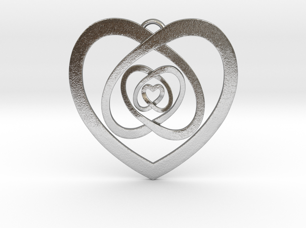 """Nested Hearts Pendant 1"""" in Natural Silver"""