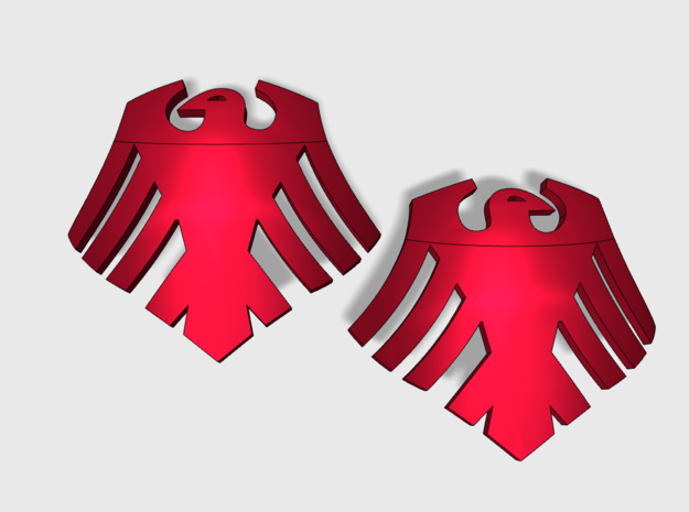60x Red Ravens : Shoulder Insignia pack in Smooth Fine Detail Plastic