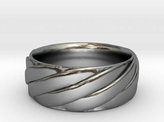 Twisted Band Ring in Polished Silver: 6 / 51.5