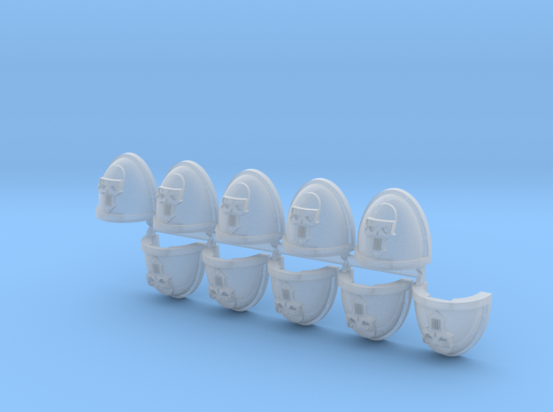 Steel Face Warriors Mk7/8 Shoulder Pads x10 #1 in Smooth Fine Detail Plastic