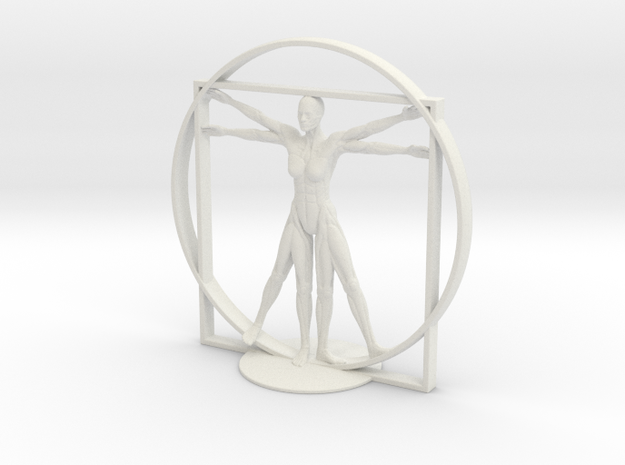 Vitruvian Robotic Woman in White Natural Versatile Plastic