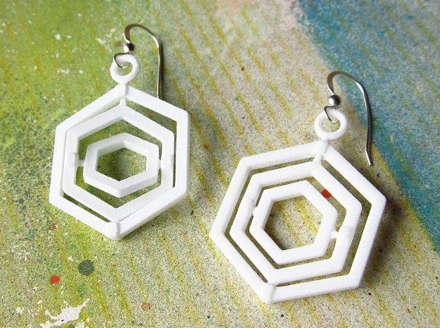 Hexagon Gyroscope Earrings