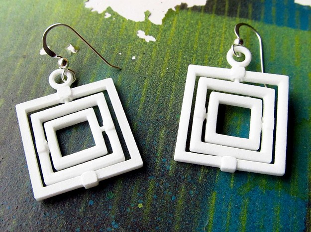 Square Gyroscope earings 3d printed