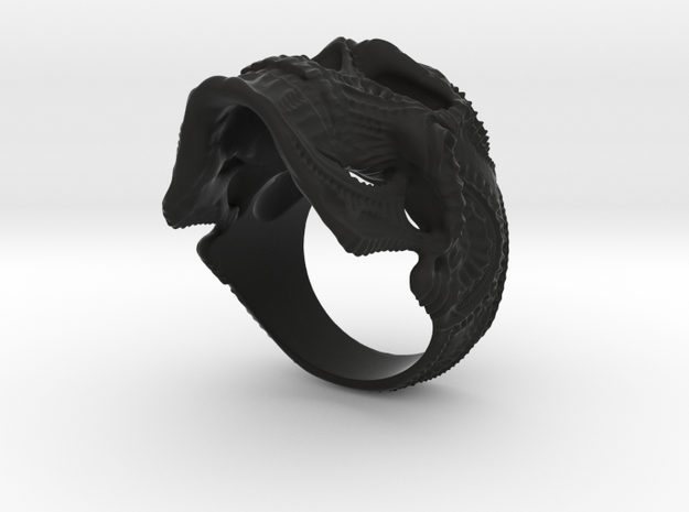 Skulls ring - GR2 in Black Natural Versatile Plastic