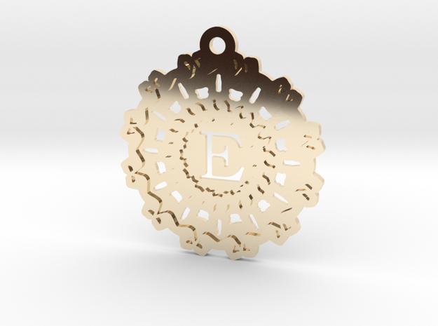 Magic Letter E Pendant in 14k Gold Plated Brass
