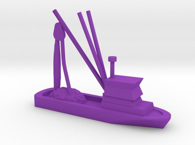 Fishing Boat Game Piece in Purple Processed Versatile Plastic