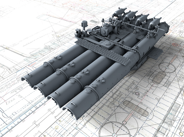 """1/192 Royal Navy 21"""" Quad Torpedo Tubes x1 in Smoothest Fine Detail Plastic"""
