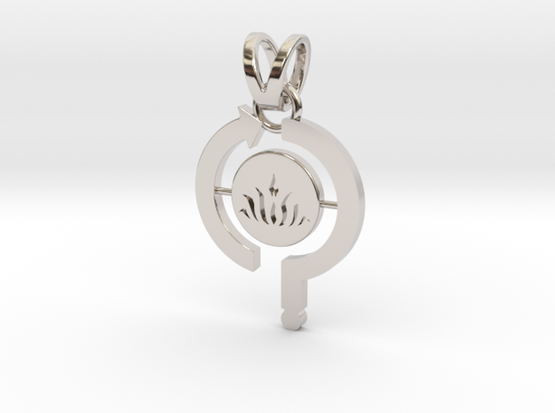 Think-Do-Be Pendant in Rhodium Plated Brass
