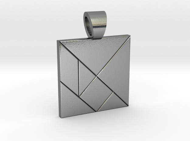 Squarish tangram [pendant] in Polished Silver