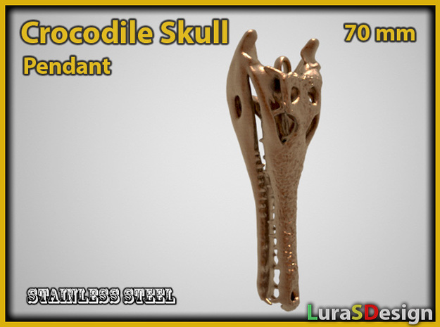 extinct Crocodile Skull Pendant 3d printed This new version is now also available in steel