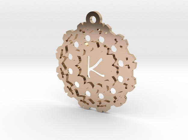Magic Letter K Pendant in 14k Rose Gold Plated Brass