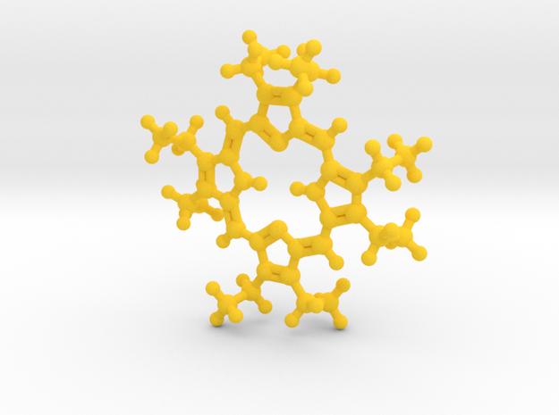 Octaethylporphyrin pendant - detailed in Yellow Processed Versatile Plastic