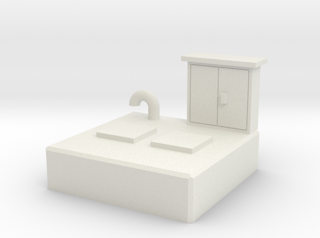 HO Sewer pumping station in White Natural Versatile Plastic