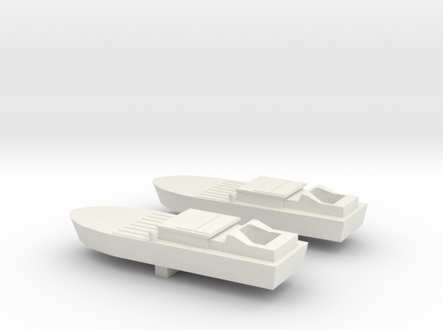 2 Shinyo Kamikazee boats in White Natural Versatile Plastic