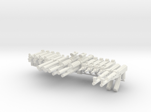 Combat Weapon Pack V1 for Playmobil figures in White Natural Versatile Plastic