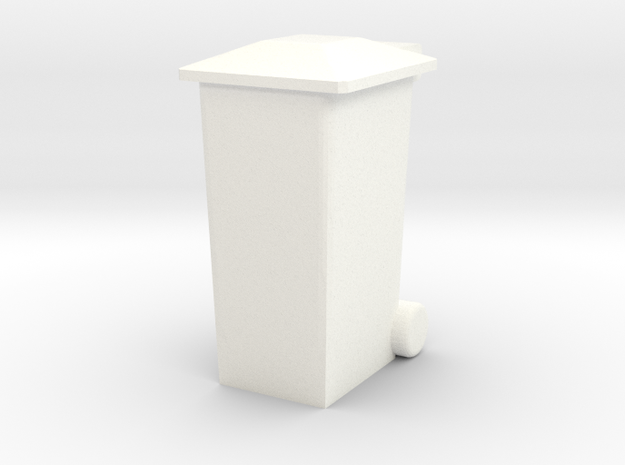 OO Gauge 240 Ltr Wheelie Bin in White Processed Versatile Plastic