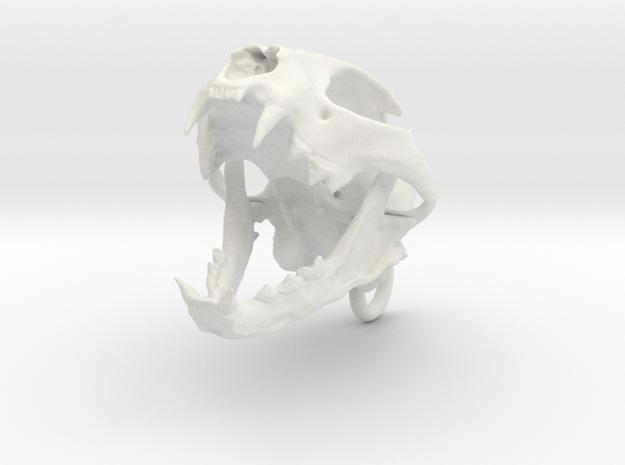 Bobcat Skull - Open Jaw Ornament in White Natural Versatile Plastic