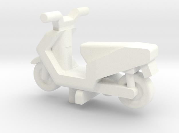 OO Gauge Generic Moped in White Processed Versatile Plastic